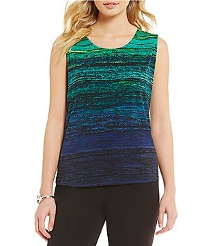 Allison Daley Petite Sleeveless Horizontal Stripe Print Knit Top