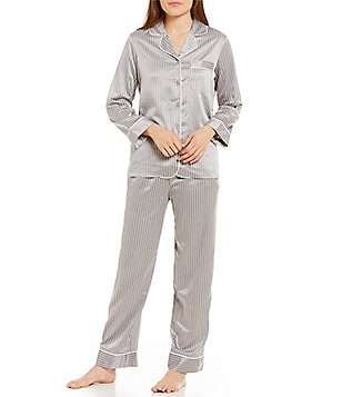 Cabernet Striped Satin Pajamas
