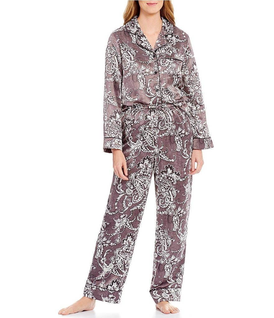 Cabernet Damask Satin Pajamas