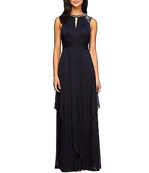 Alex Evenings Sleeveless Beaded Keyhole-Neck Dress