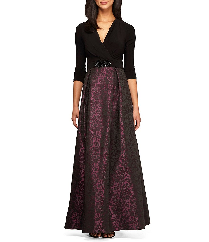 Alex Evenings 3/4 Sleeve V-Neck Beaded-Waist Printed Ballgown