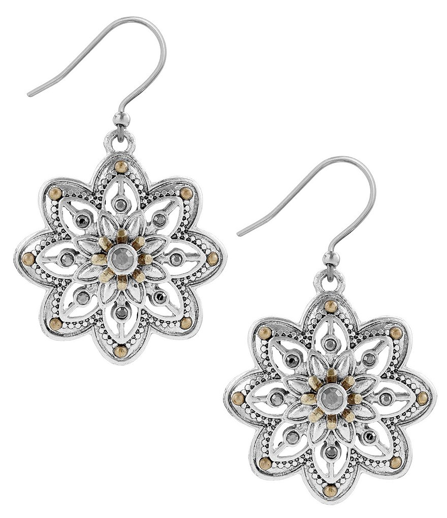 Lucky Brand Openwork Floral Drop Earrings