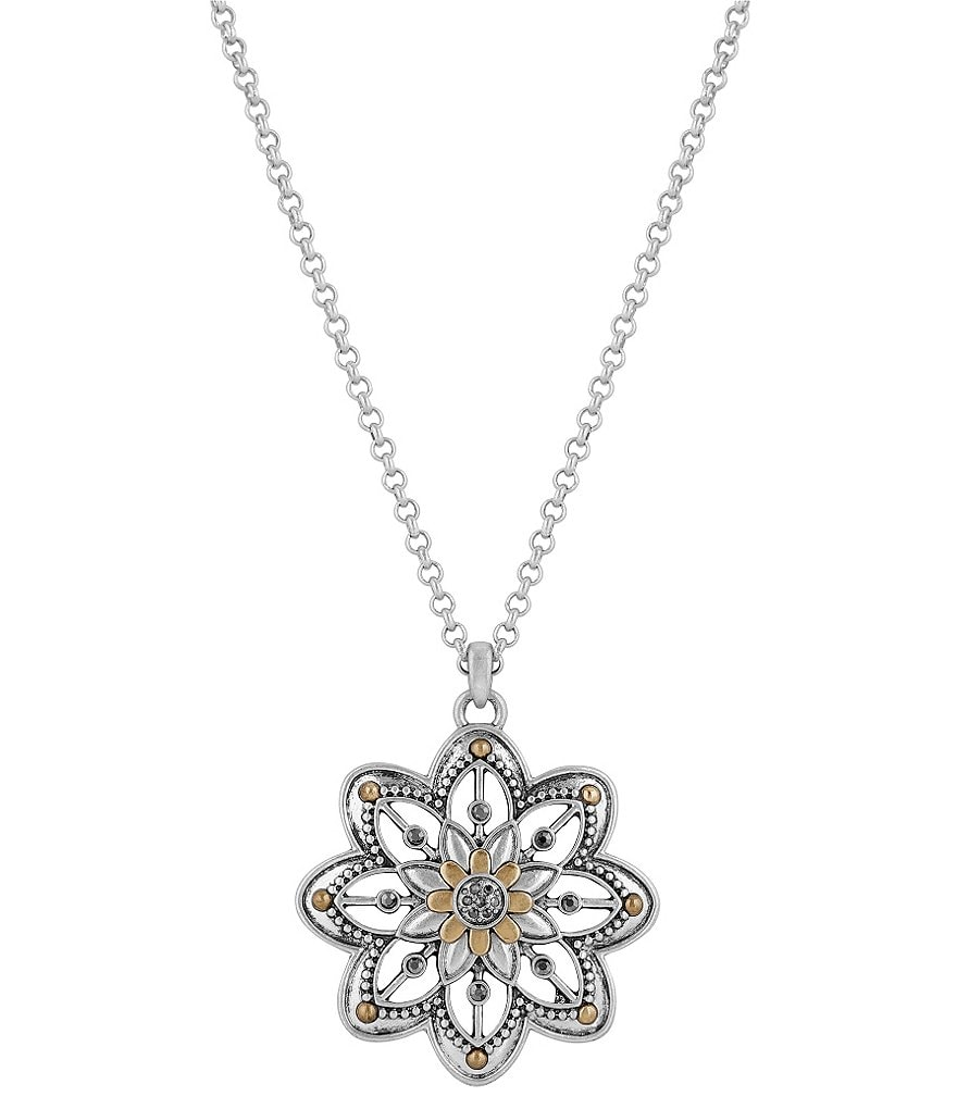 Lucky Brand Openwork Floral Pendant Necklace