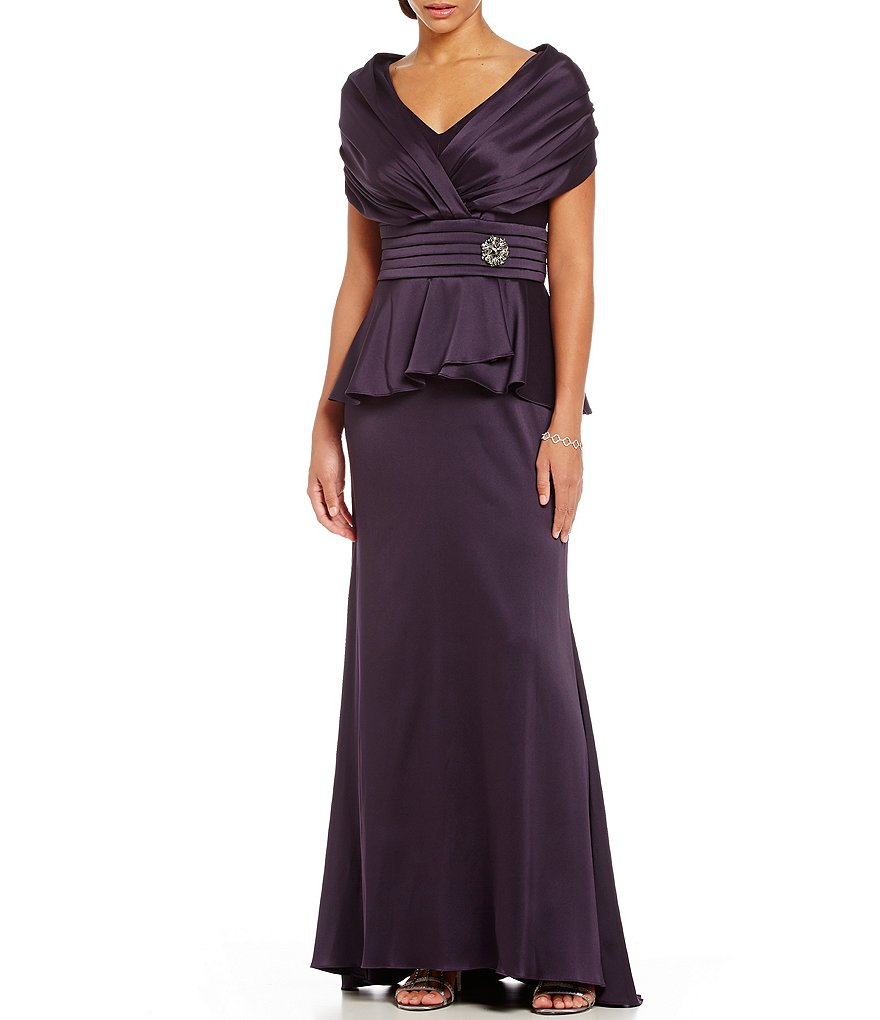 Ignite Evenings Portrait-Collar Mock 2-Piece Gown