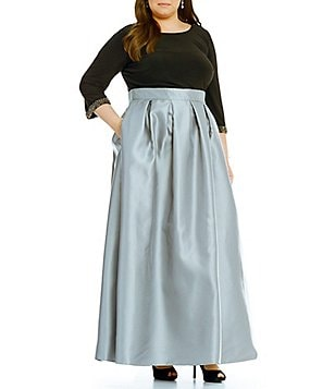 Ignite Evenings Plus Long Sleeve Bead-Cuff Ballgown