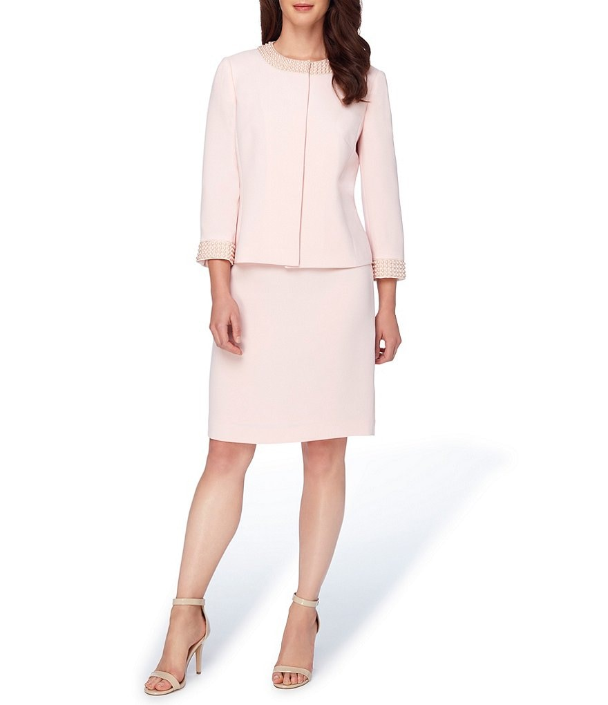 Tahari ASL Crepe Pearl-Trim 2-Piece Skirt Suit