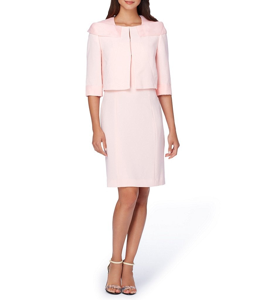 Tahari ASL Fold-Over Organza Collar 2-Piece Jacket Dress Suit