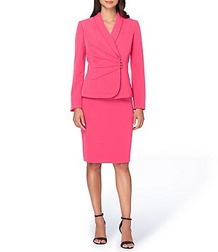 Tahari ASL Ruched Starneck Skirt Suit