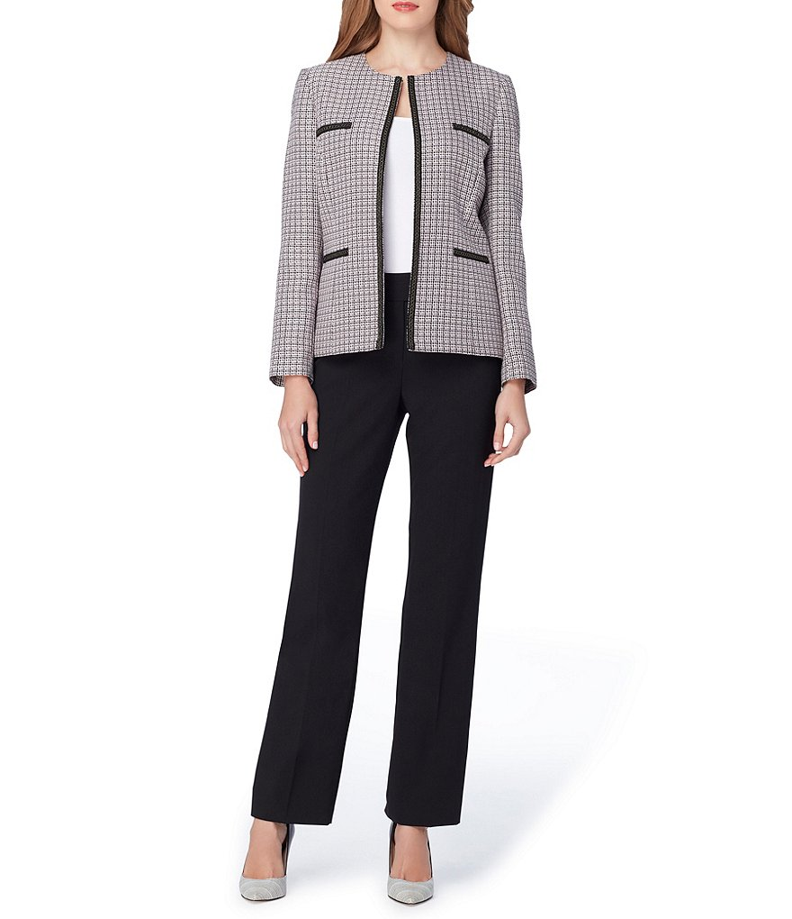 Tahari ASL Tweed Open-Front Pant Suit