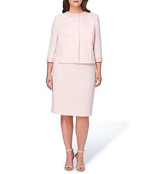 Tahari ASL Plus Crepe Pearl-Trim Skirt Suit