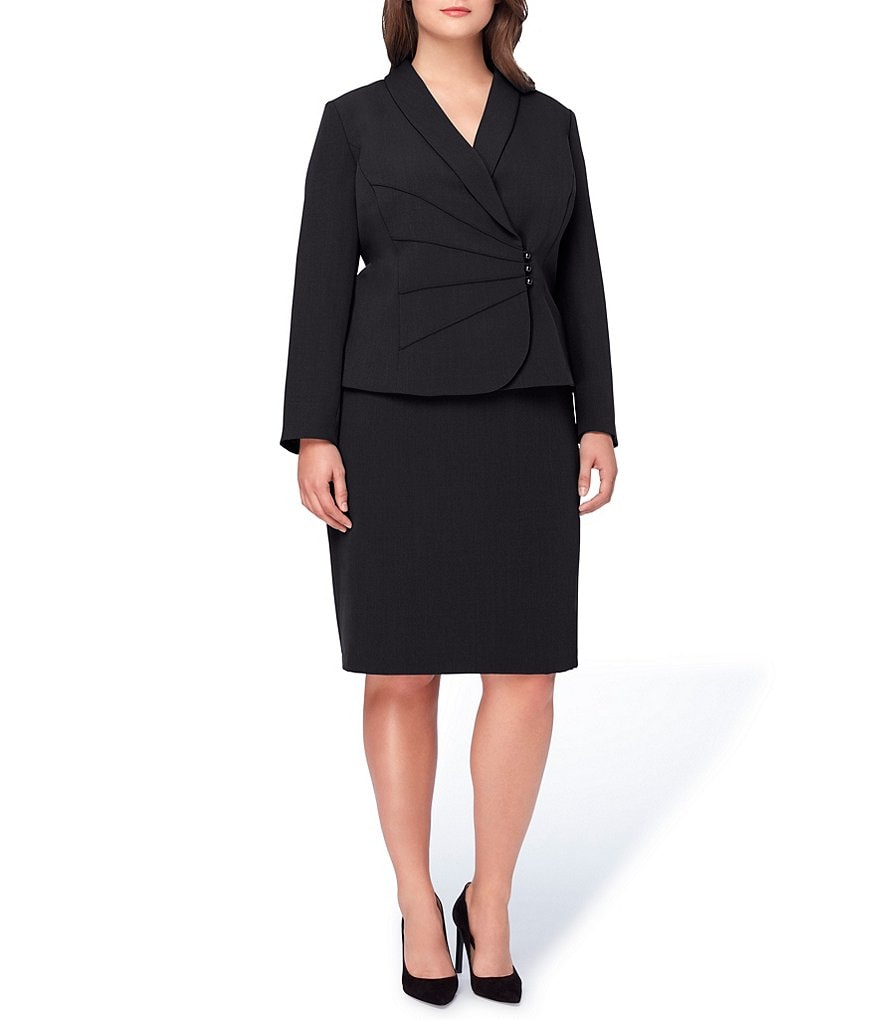 Tahari ASL Plus Ruched Starneck Crepe Skirt Suit