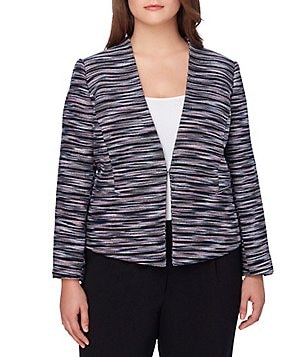 Tahari ASL Plus Collarless Multi-Colored Tweed Jacket