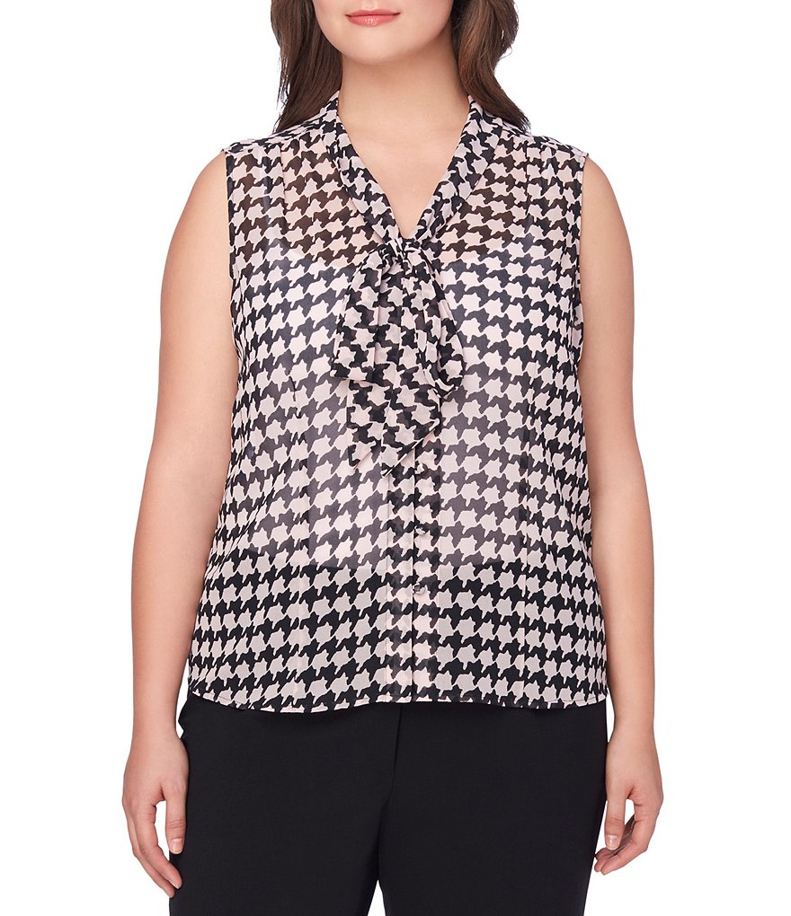 Tahari Plus ASL Chiffon Houndstooth-Print Neck-Tie Top