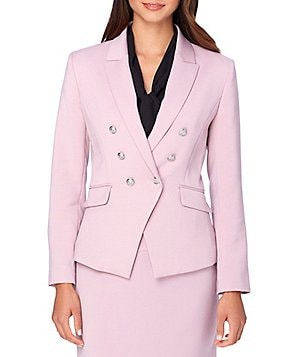Tahari ASL Notch Collar Double-Breasted Stretch Ponte Military Blazer