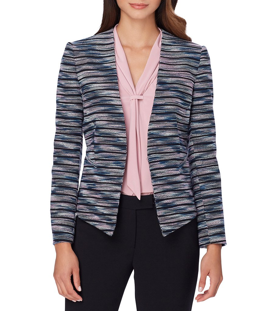 Tahari ASL Collarless Square Hem Hook Front Multi-Colored Tweed Jacket