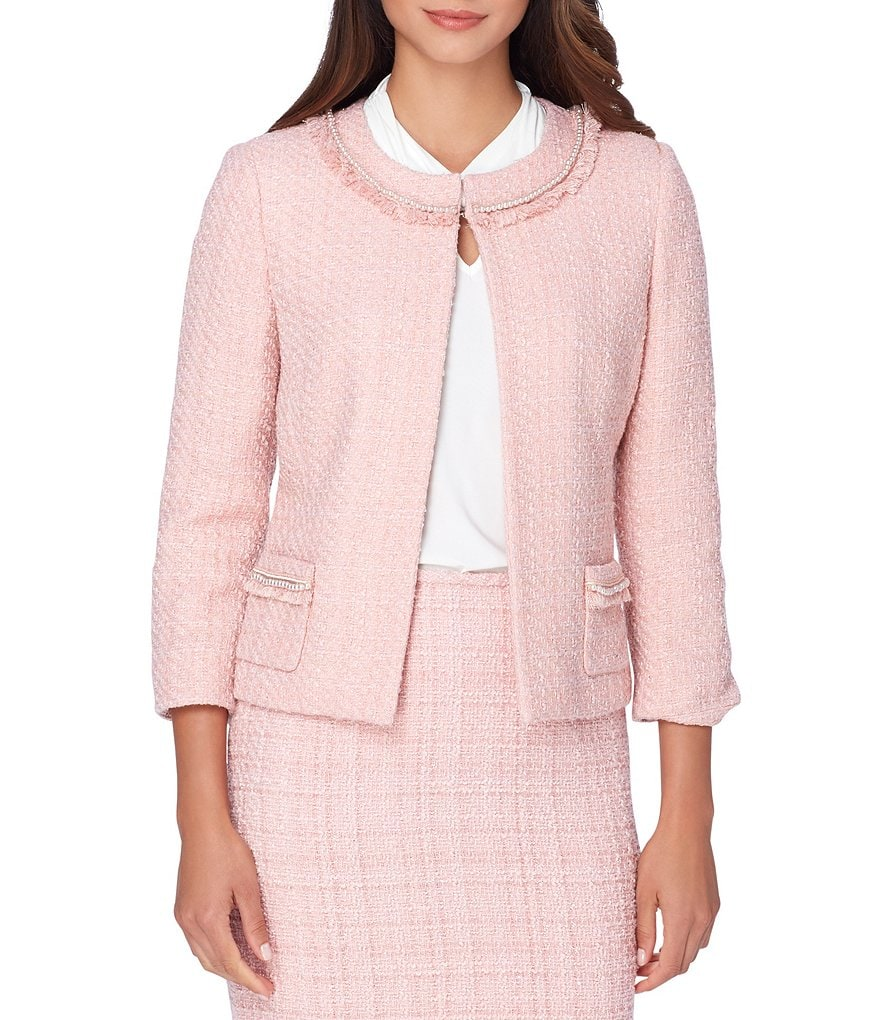 Tahari ASL Fringe-Detail Pearl Trim 3/4 Sleeve Boucle Jacket