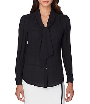 Tahari ASL Long Sleeve Tie-Neck Woven Blouse