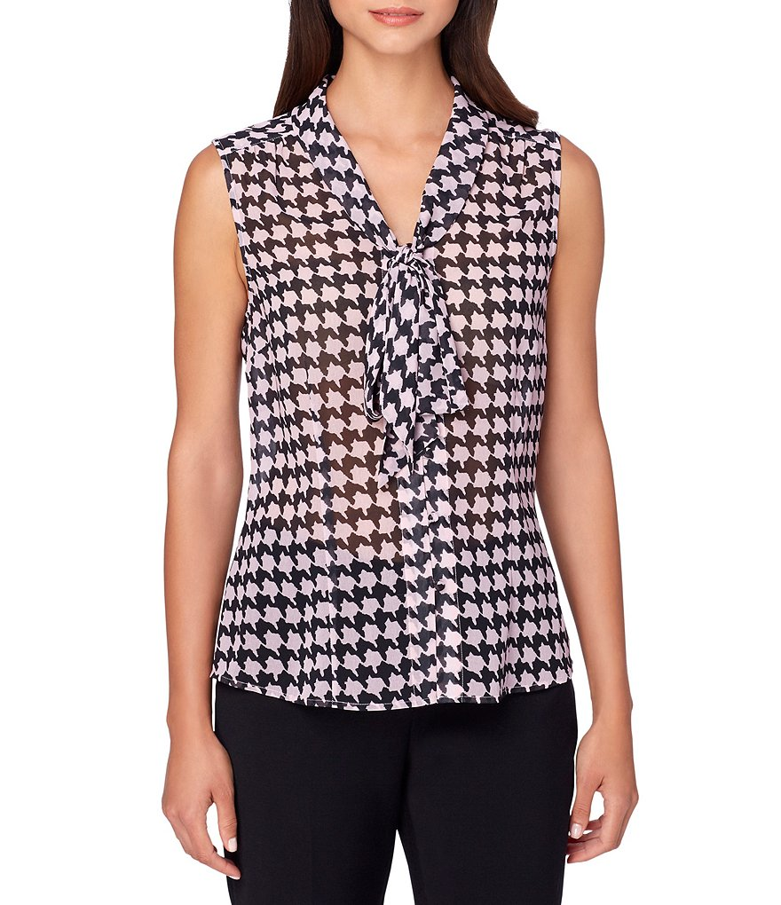 Tahari ASL Chiffon Houndstooth Print V-Neck with Tie Sleeveless Top