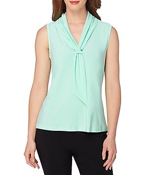Tahari ASL Tie-Neck Sleeveless Knit Top