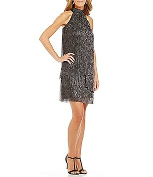London Times Crinkle Metallic Trapeze Dress