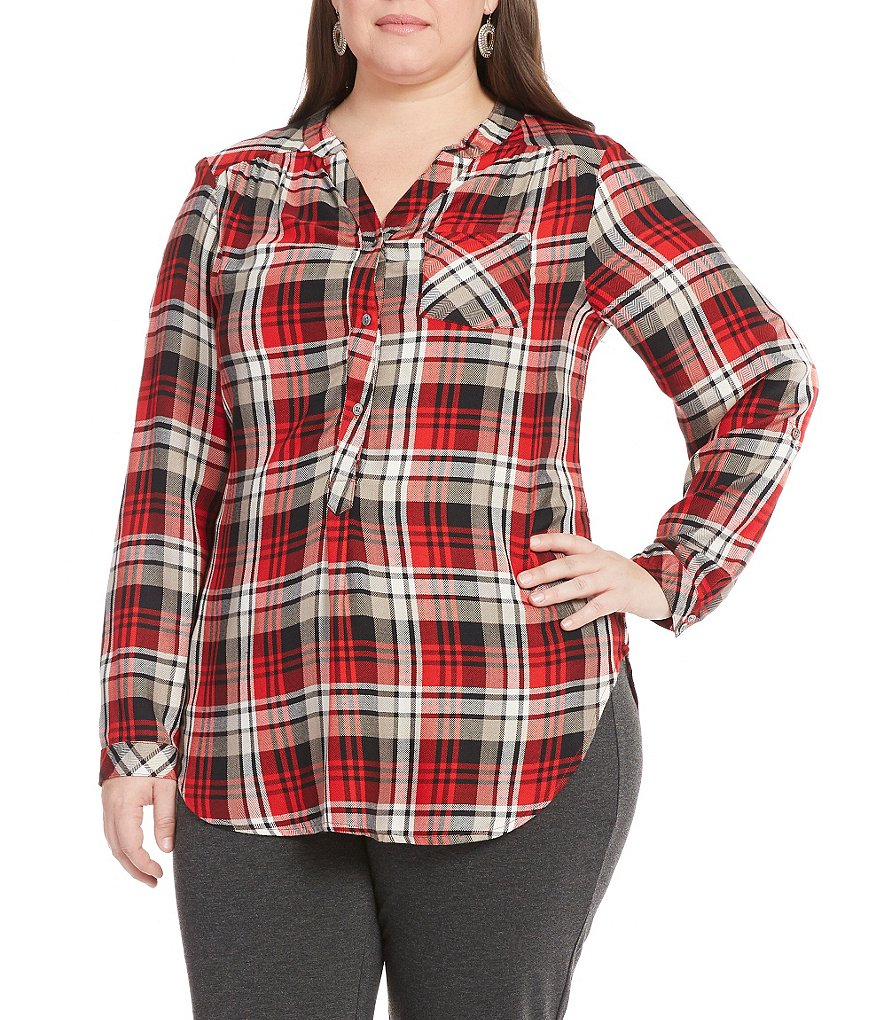 Intro Plus Plaid Popover One-Pocket Tunic