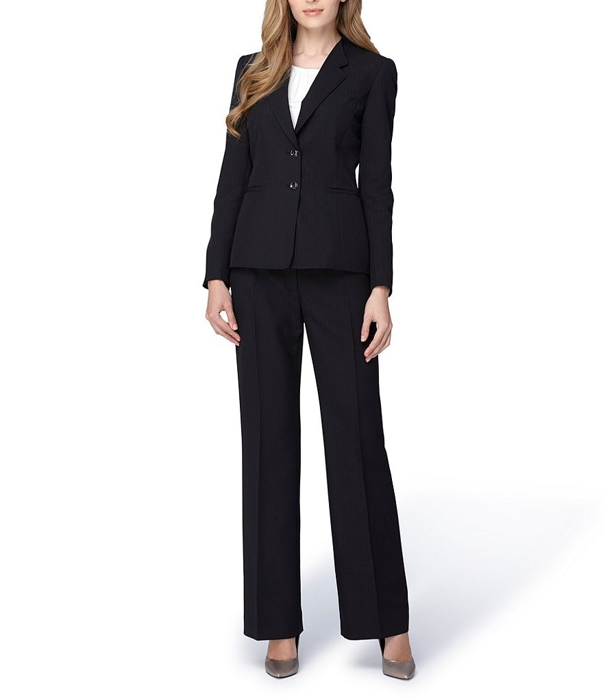 Tahari ASL Long-Sleeve Shadow-Striped Pant Suit
