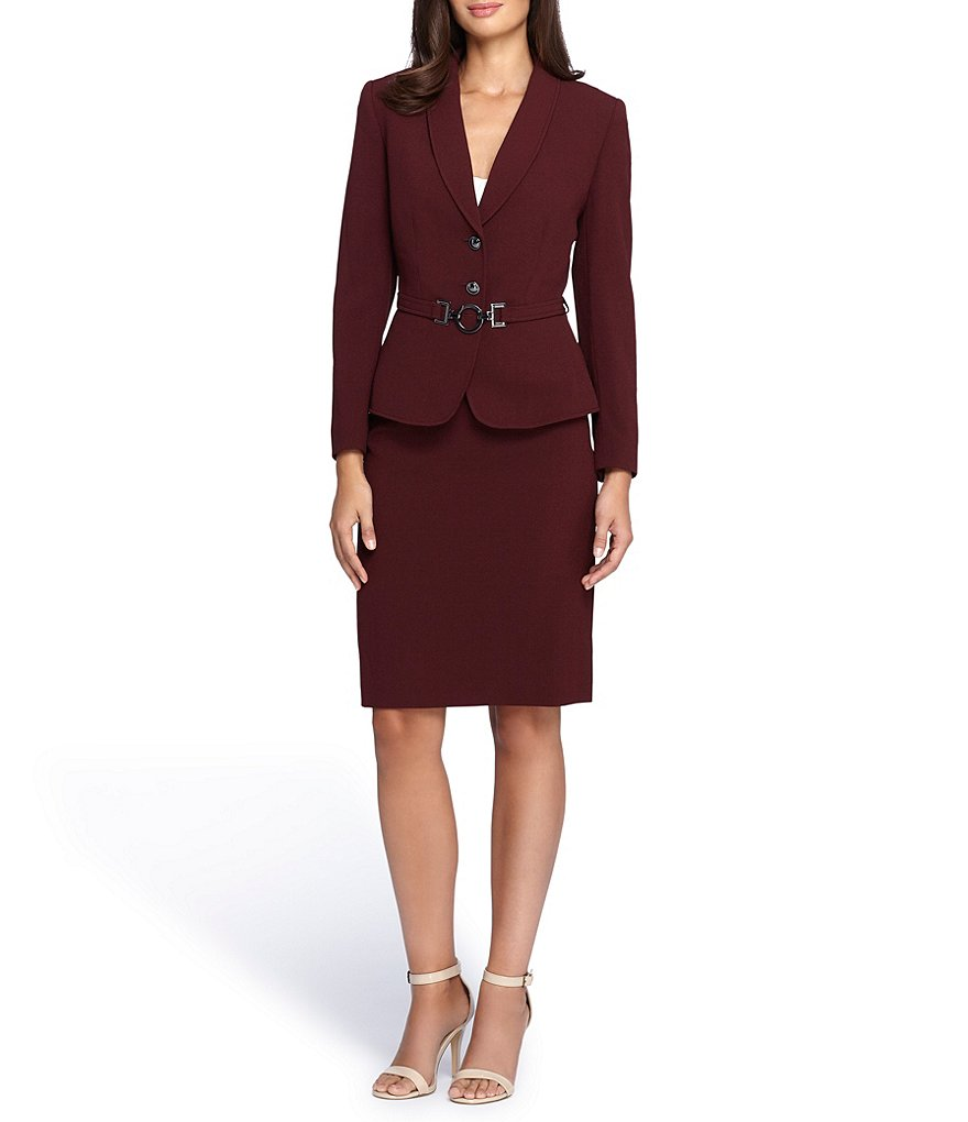 Tahari ASL Belted Double Button Skirt Suit