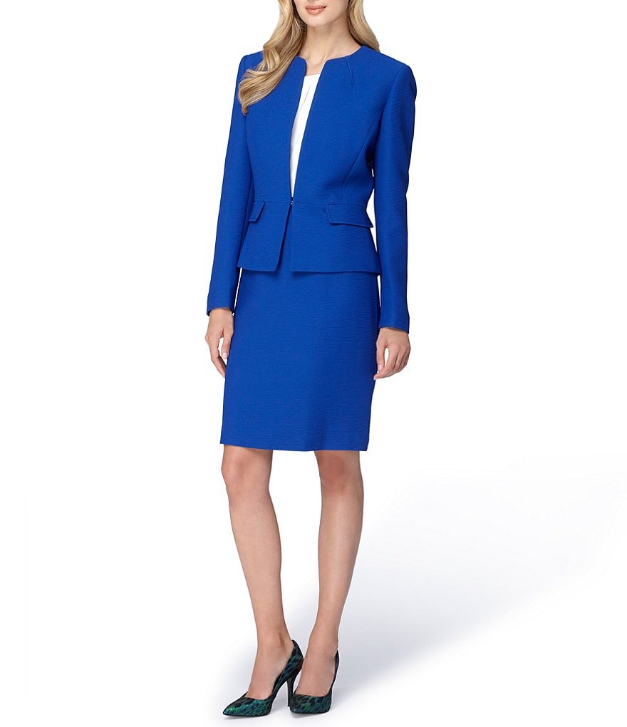 Tahari ASL Peplum Jacket Skirt Suit