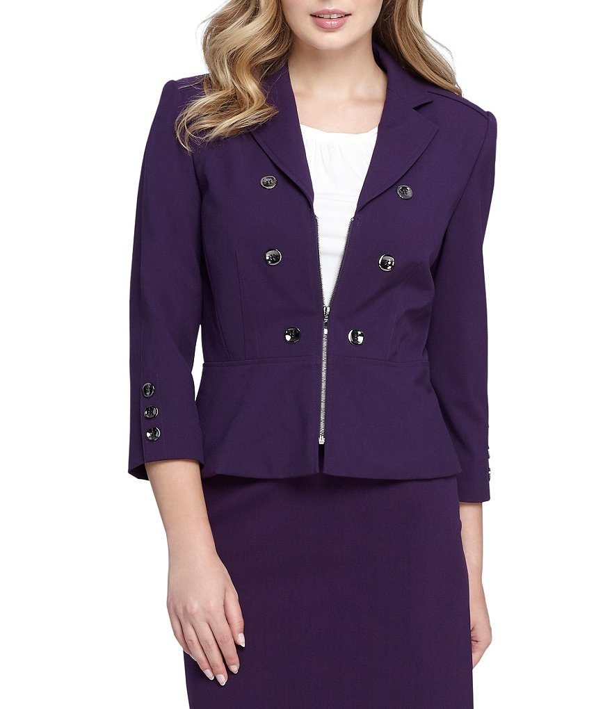 Tahari ASL Double Breasted Zip Peplum Jacket