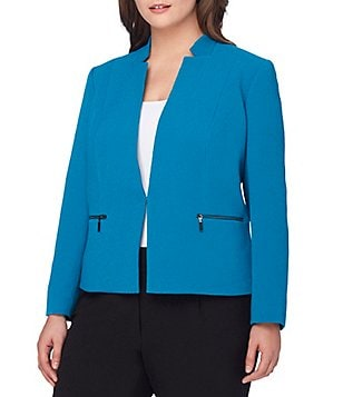 Tahari ASL Plus Open-Front Crinkle Zipper-Detail Jacket