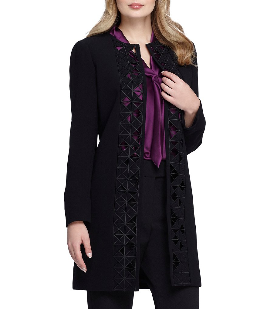 Tahari ASL Laser Cut Open Front Topper Jacket