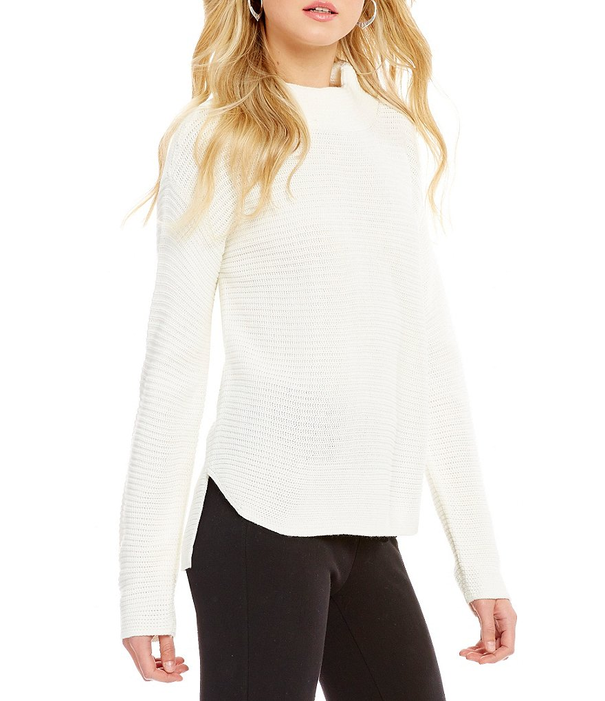 Westbound Mock Neck Dolman Sleeve Hi-Low Hem Solid Sweater