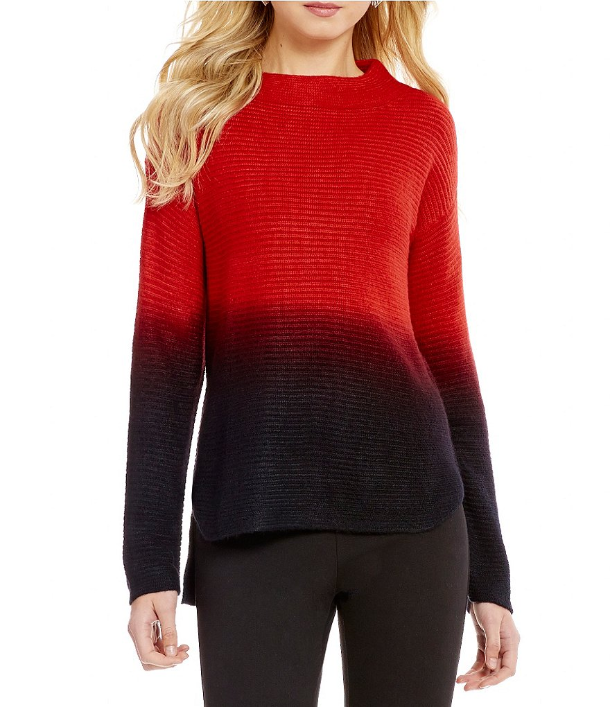 Westbound Mock Neck Dolman Sleeve Hi-Low Hem Ombre Sweater