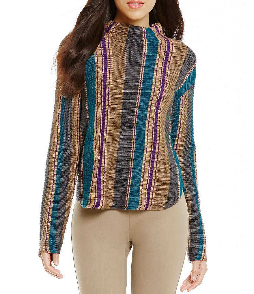 Westbound Mock Neck Long Dolman Sleeve Hi-Low Hem Striped Sweater