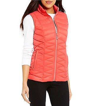 Westbound Packable Mock Neck Zip Front Solid Puffer Vest