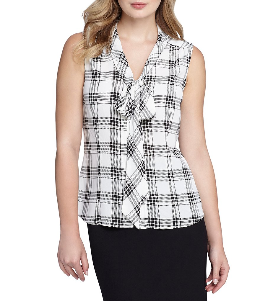 Tahari ASL Tie-Neck Windowpane-Print Top