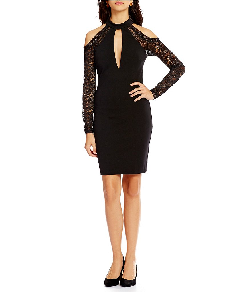 Nicole Miller Artelier Deep V-Neck Choker Style Cold-Shoulder Dress