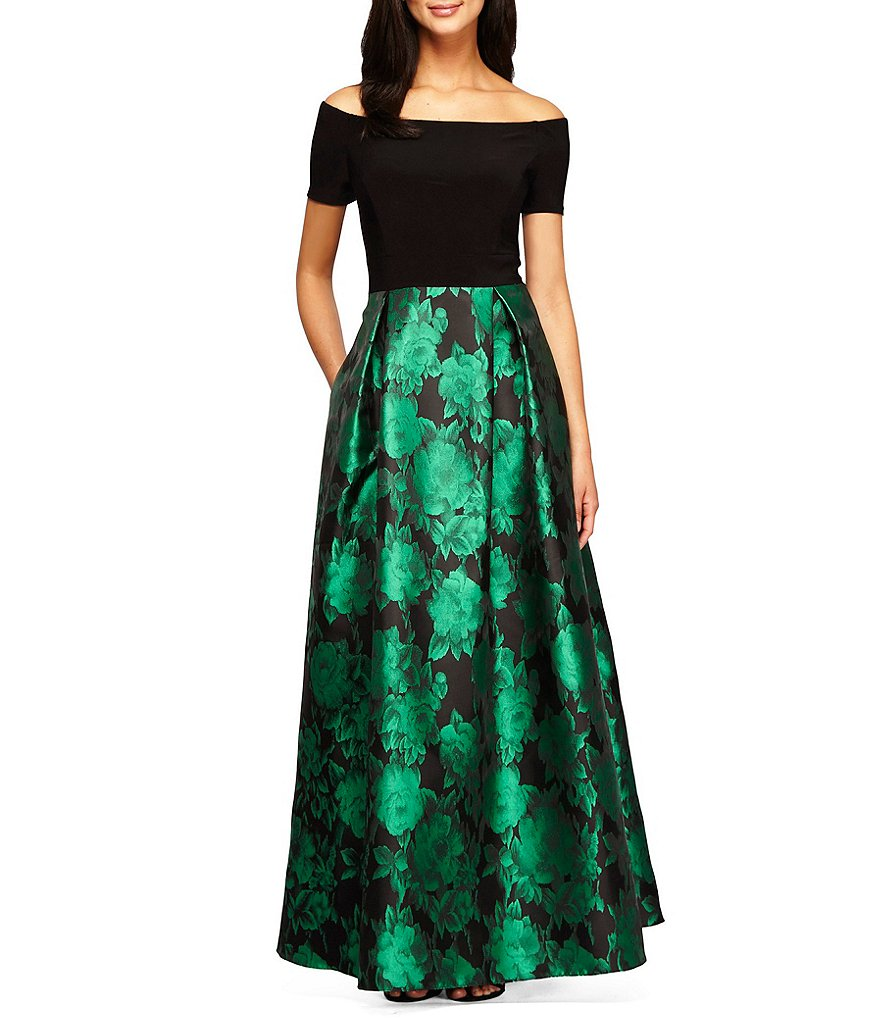 Alex Evenings Off-The-Shoulder Short Sleeve Printed Ballgown