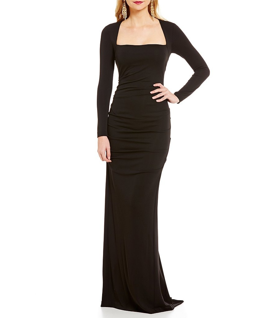 Nicole Miller Collection Long Sleeve Square Neck Felicity Gown