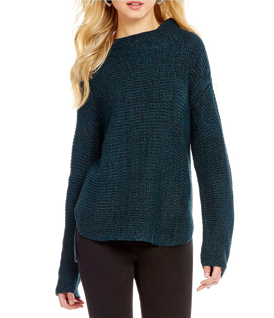 Westbound Petites Mock Neck Dolman Sleeve Sweater
