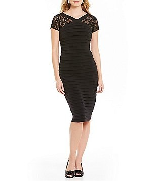 London Times Lace-Inset Banded Dress