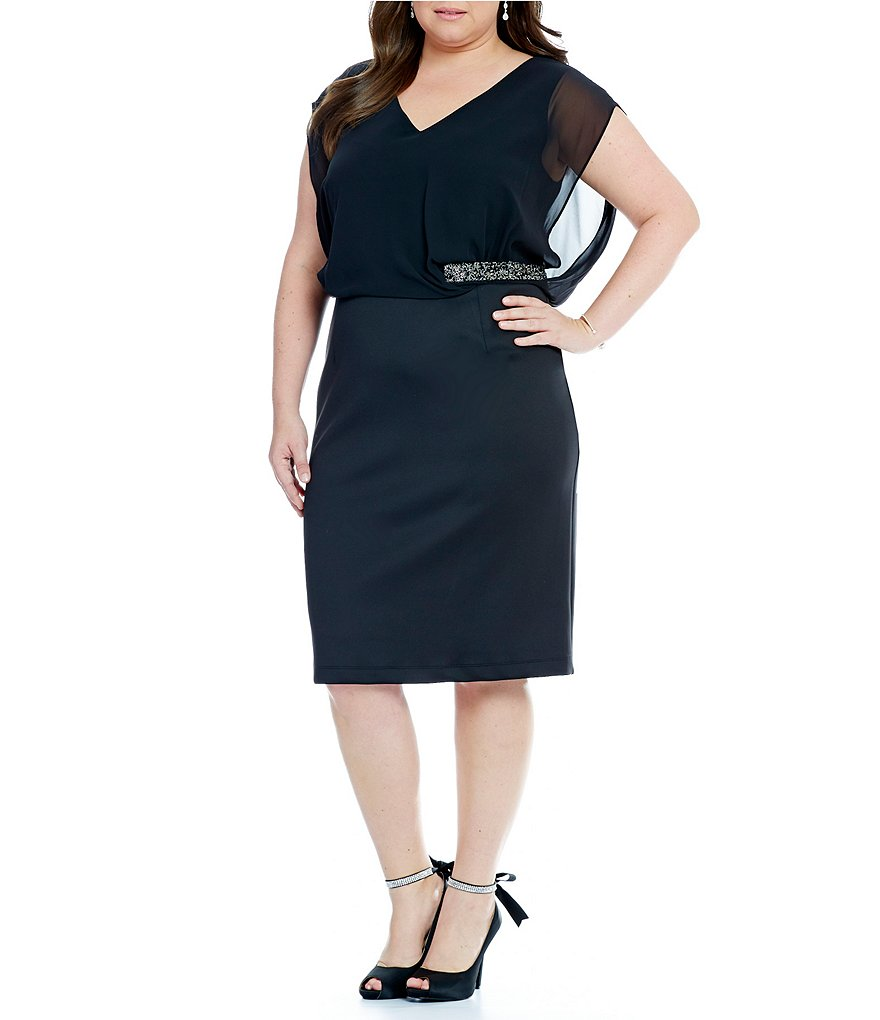S.L. Fashions Plus Chiffon Scuba Blouson Sheath Dress