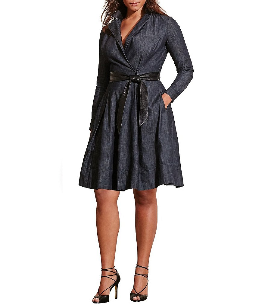 Lauren Ralph Lauren Plus Denim Wrap Dress
