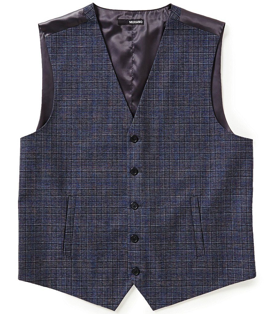 Murano Plaid Button-Front Vest