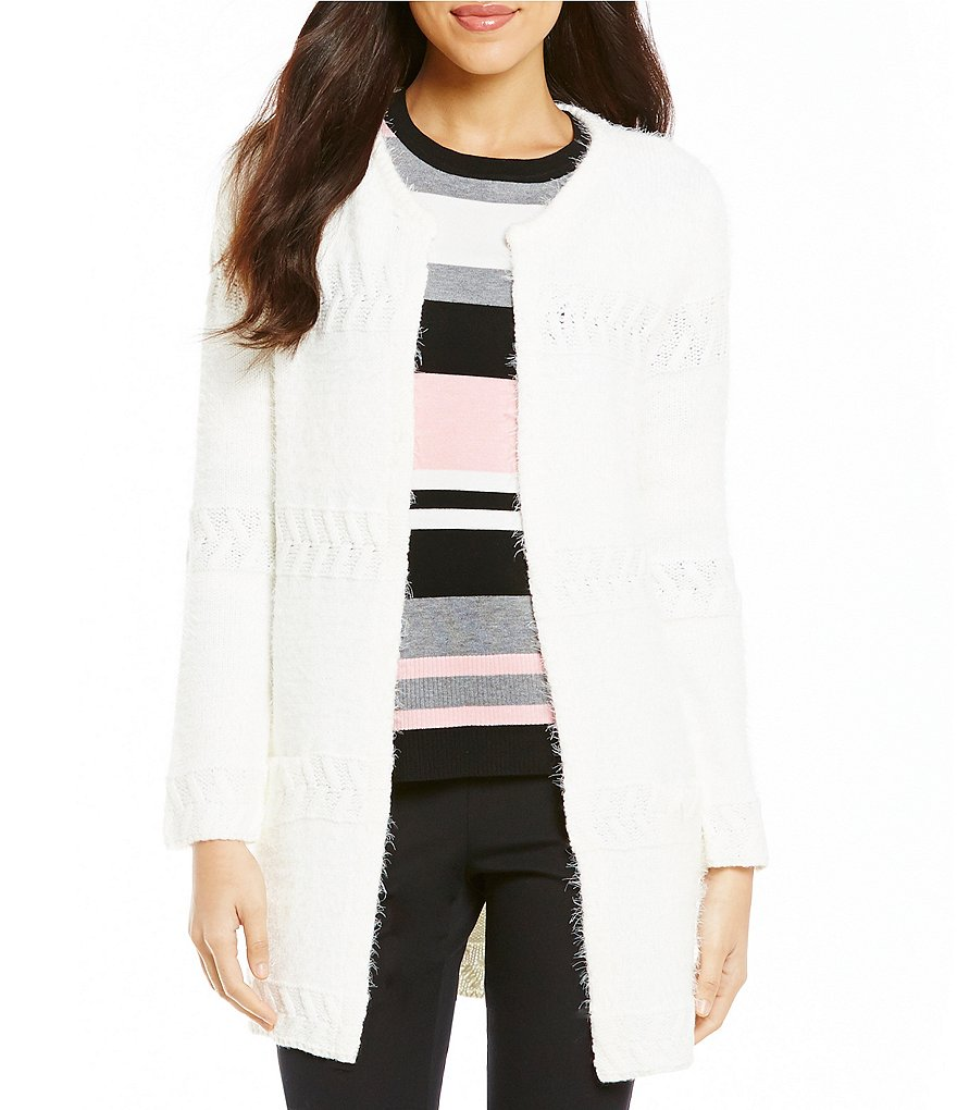 Investments Crew Neck Long Sleeve Hook Front Eyelash Cardigan
