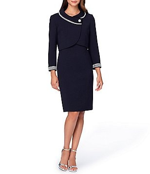 Tahari ASL Pearl-Trim Ponte 2-Piece Dress Suit