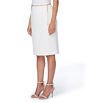 Tahari ASL Petite Pearl Chain-Belt Ponte Pencil Skirt