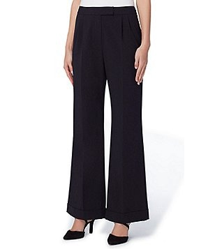 Tahari ASL Petite Bi-Stretch Cuffed Wide-Leg Pants