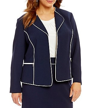 Tahari ASL Plus Wing Collar Long Sleeve Open Front Framed Ponte Jacket