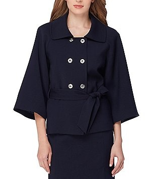 Tahari ASL Belted Double Breasted Ponte Jacket